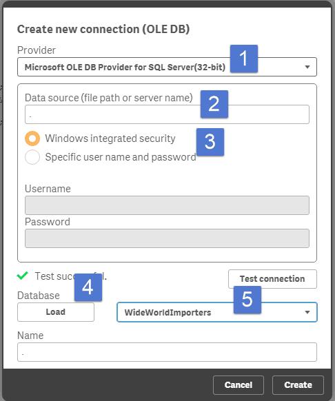 Parameter entries for SQL Server in Qlik Sense