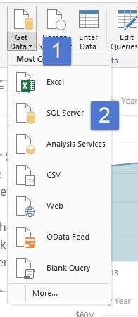 Get Data Tab in Power BI Desktop