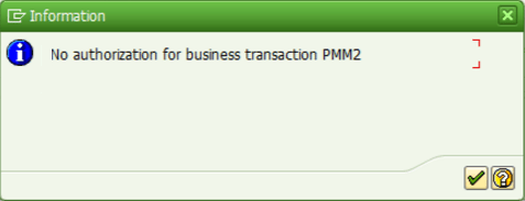 SAP transaction error missing authorization