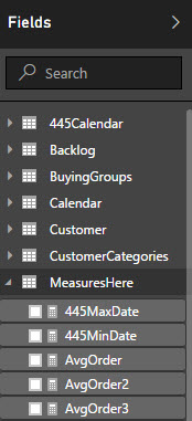 Power BI list of tables fields and measures including search