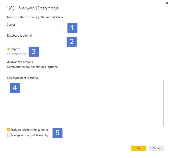 Power BI SQL Server dialog box