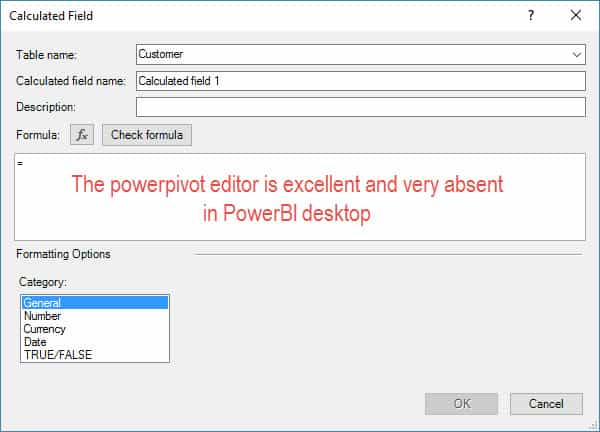 Power Pivot DAX measure editor